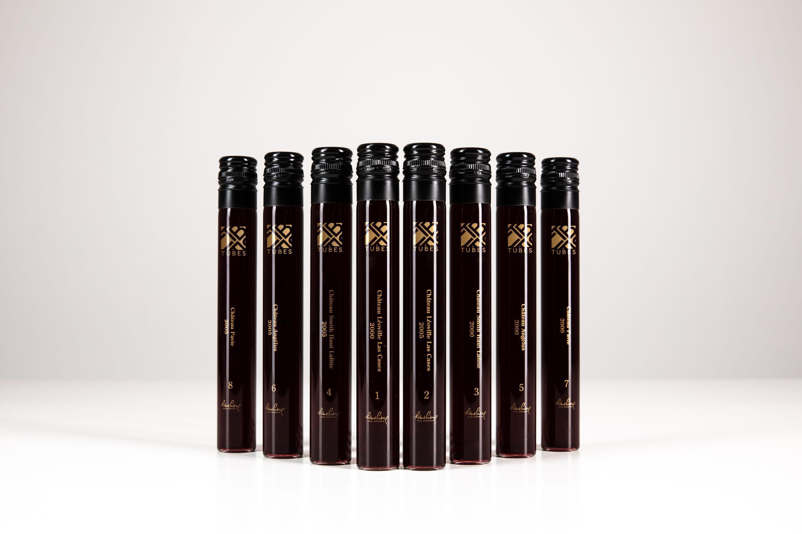 TUBES bottles 2000 and 2005 Bordeaux vintages for virtual Robert Parker tasting